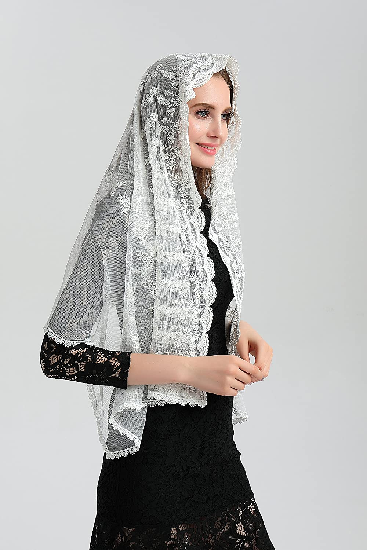 Catholic veil ivory lace veil for church mantilla headcover infinity veils v29b
