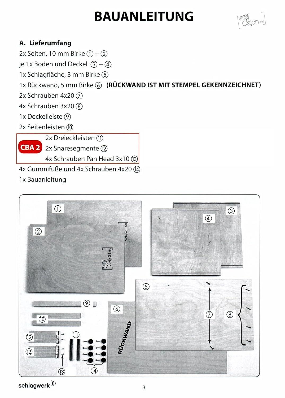 Cajon con effetto doppio rullante CBA2 Schlagwerk Perkussion E.K