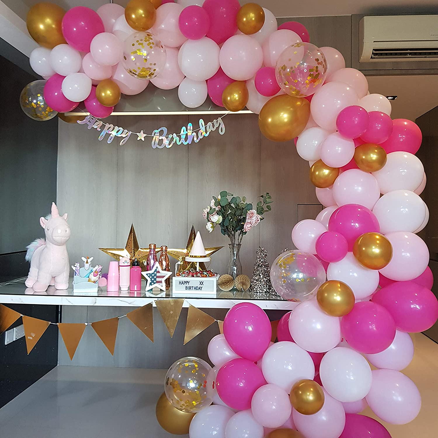 RC&Z Pink Balloon Garland Arch Kit - 120 DIY Hot Pink, Light Pink, White, Gold Metallic and Confetti Latex Balloons for Baby Shower Decorations Bachelorette Birthday Party Backdrop Background Supplies