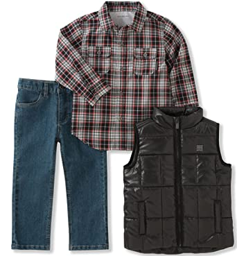 f93e2e9dd Calvin Klein Boys' Little 3 Pc Vest Set, Black/Cranberry 4