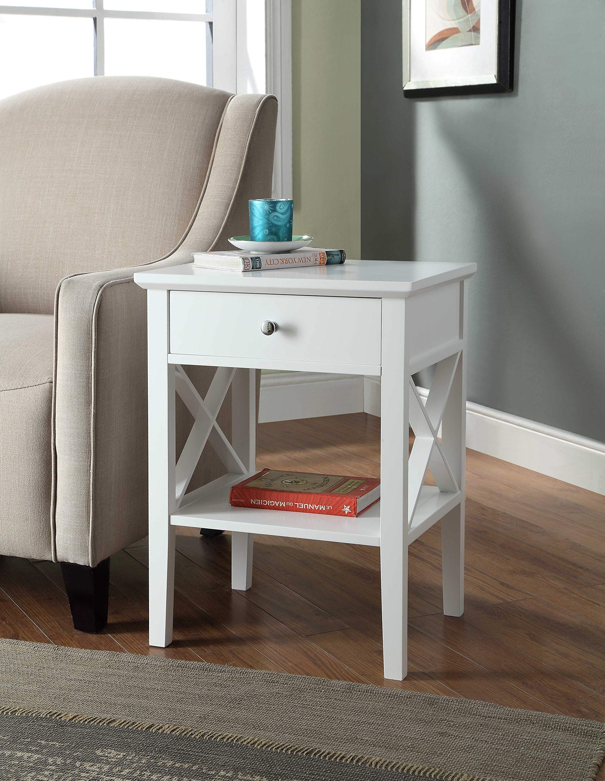 White Finish X-Design Contemporary Nightstand Side End Table Bedroom with Drawer - Color: White Material: MDF/Hardwood Comes with one drawer for extra storage - bedroom-furniture, nightstands, bedroom - 91eKBawzs1L -