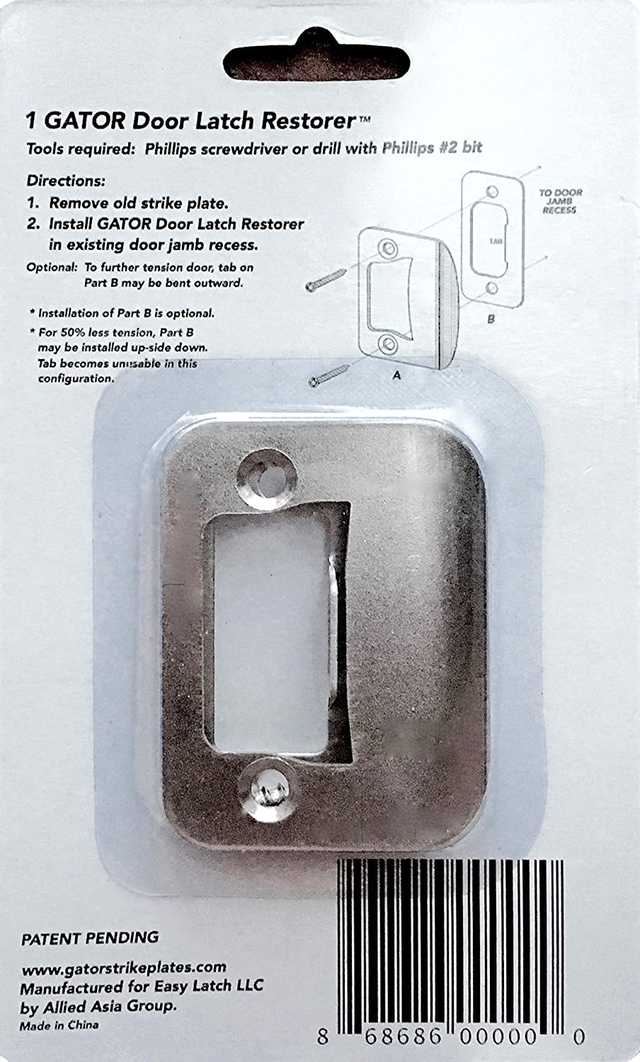 4 Pack GATOR Door Latch Restorer   Strike Plate (Satin Nickel)      Amazon.com