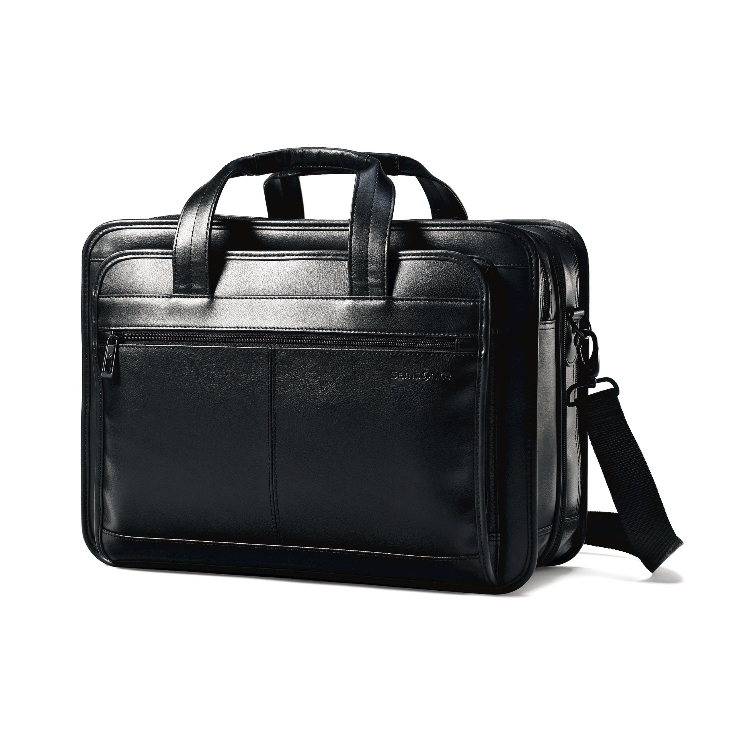 Samsonite Leather Expandable Briefcase, Black