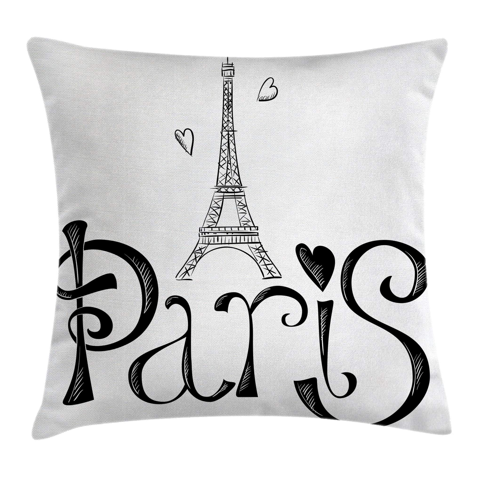 Ambesonne Paris Throw Pillow Cushion Cover, Illustration with Eiffel Tower France Heart Shapes Silhouette Vacation Theme Art, Decorative Square Accent Pillow Case, 16 X 16 Inches, Black White