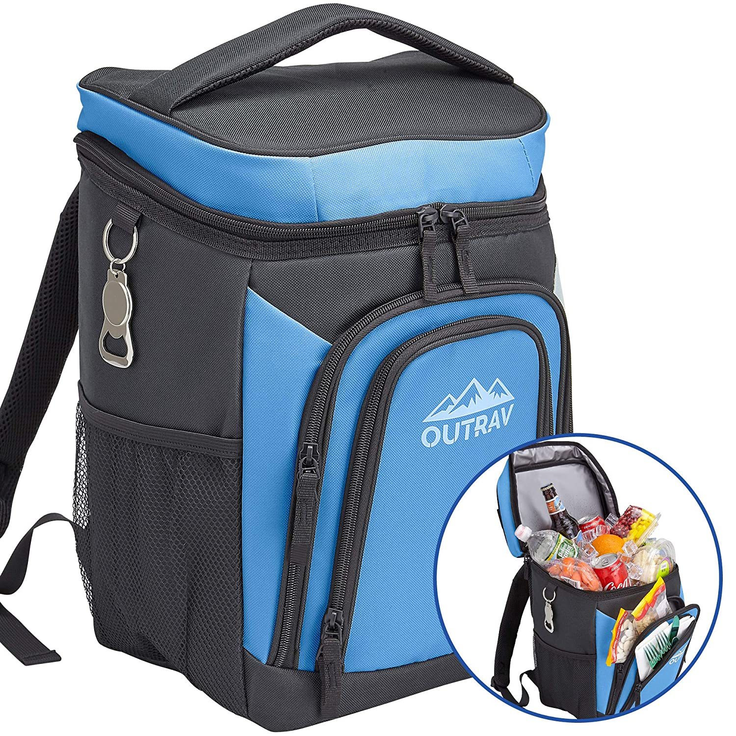 Outrav Blue Backpack Cooler Bag with Bottle Opener – Fully Insulated Thermal 16 Can Tote - Padded Back and Shoulder Strap - Front Zipper and Mesh Water Bottle Pockets