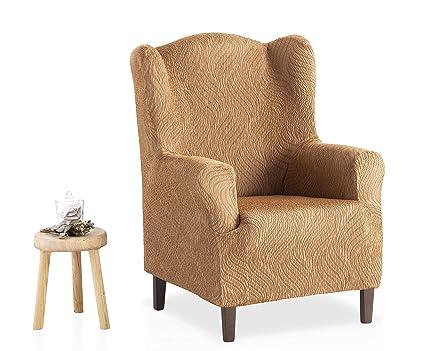 Bartali Funda de sillón orejero elástica Aitana - Color beige -Tamaño 1 plaza (de 70 a 110 cm).