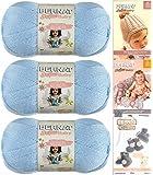 Bernat Softee Baby Yarn 3 Pack Bundle Includes 3 Patterns DK Light Worsted (Pale Blue)
