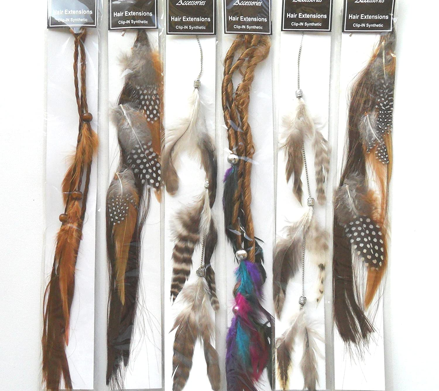 Amazon Feather Hair Clip Extensions Set Of 6 Assorted Colors