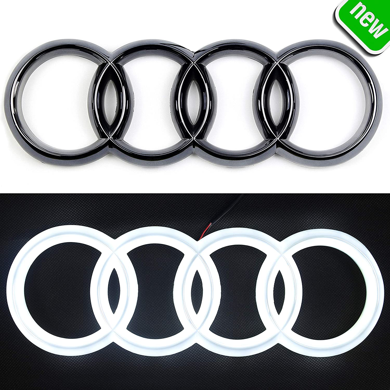 Lights Drl Daytime Running Lights White -Drive Front Car Grill Badge 285 mm Black Auto Illuminated Logo Jetstyle LED Emblem Glowing Rings