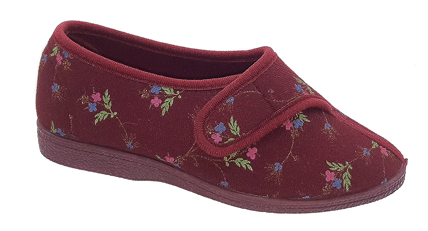 New Womens Ladies DUNLOP Red Floral Orthopaedic Boots Slippers Size 3 4 5 6 7 8