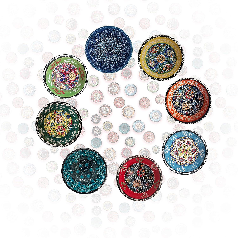 NIKITA Decorative Design Turkish Ceramic Bowl Set of 6 - Handcrafted Multicolor Small Bowl