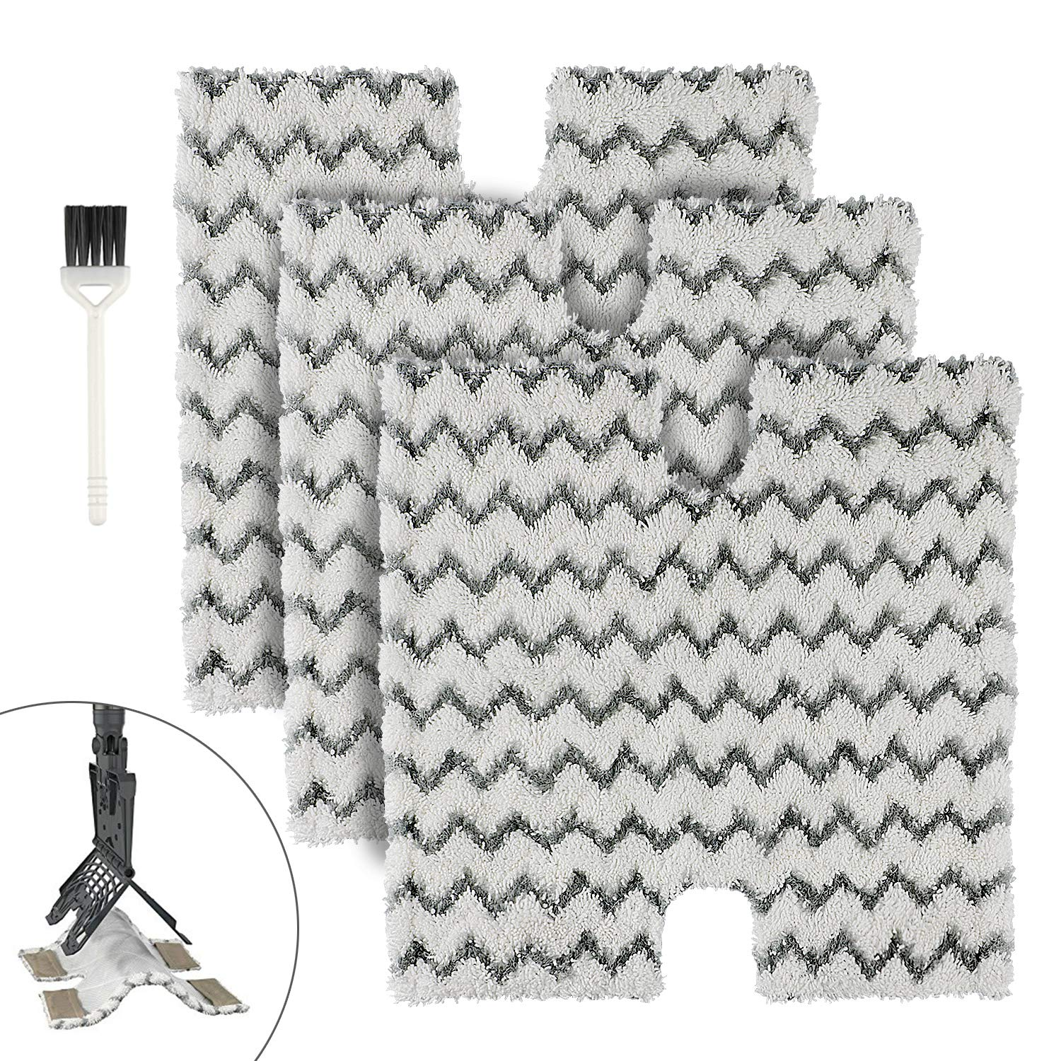 MXZONE Replacement Microfiber Steam Mop Cleaning Pads for Shark Steam Pocket Mops S3500 Series S3550 S3501 S3601 S3601D S3901 S3801 S3801CO(White) (S3973)