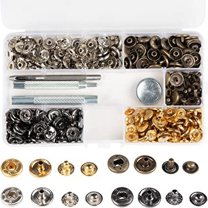 Hotop 80 Set Snap Fasteners Snaps Button Press Studs with 4 Pieces Fixing Tools 12.5 mm in Diameter