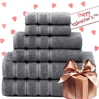 American Soft Linen Premium, Luxury Hotel & Spa Quality, 6 Piece Kitchen & Bathroom Turkish Towel Set, Cotton for Maximum Softness & Absorbency, [Worth $72.95] (Grey)