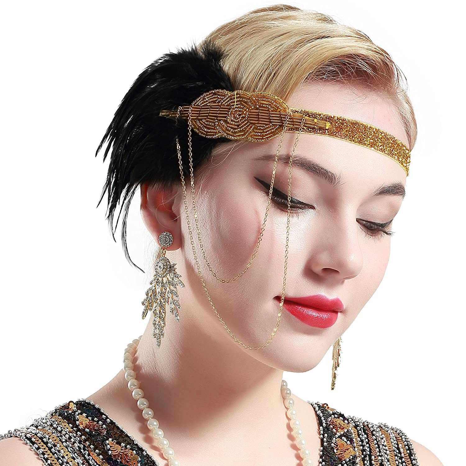 BABEYOND 1920s Flapper Accessories Headband Black Feather Headband 20s Flapper Gatsby Headpiece Vintage Beaded Headband Gatsby Accessories WHUS-headband-39-Black-1
