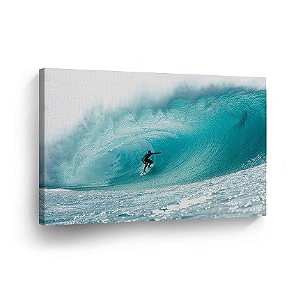 Amazon.com: Canvas Print Surfer Wall Art Ocean Waves Big Giant Huge ...