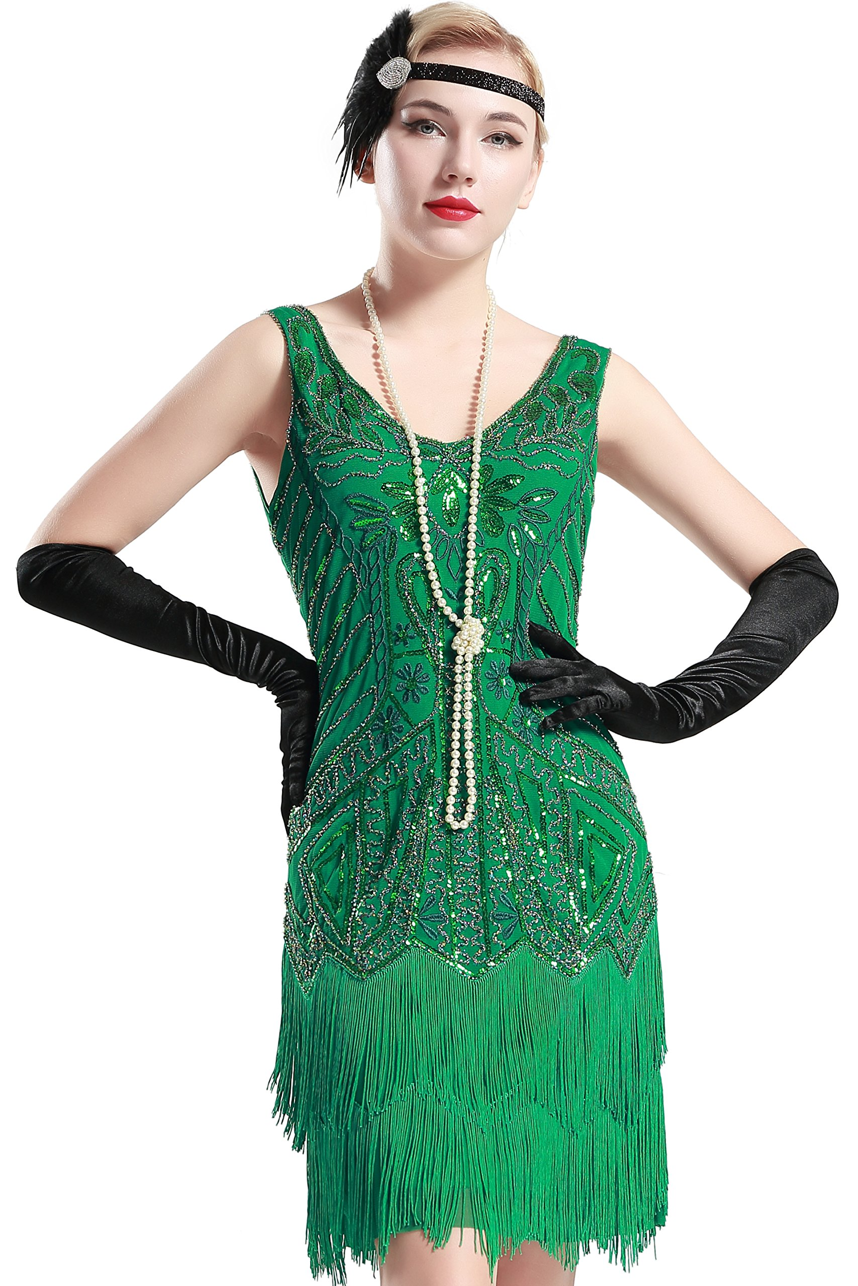 Womens Flapper Dresses 1920s V Neck Beaded Costume Fringed Sequin Great Gatsby Dress Evening Party Cocktail Dress