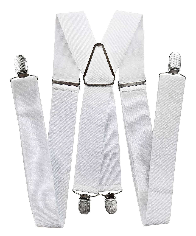 Axy® Homme bretelles blanches Largeur 3, 5cm avec 4Forte Clips forme de X 5cm avec 4Forte Clips forme de X HT35-1