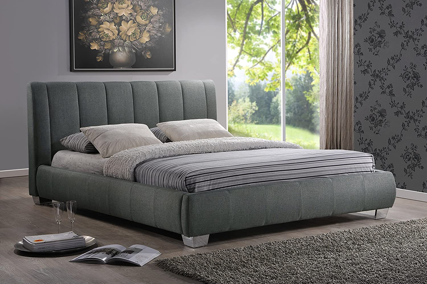 amazoncom baxton studio marzenia fabric upholstered platform bed greyqueen kitchen  dining. amazoncom baxton studio marzenia fabric upholstered platform bed
