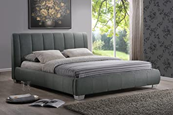 baxton studio marzenia fabric upholstered platform bed grey queen