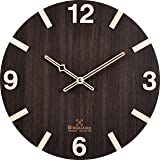 Bsquare 12 inches Handcrafted Wooden Wall Clock,Dark Brown