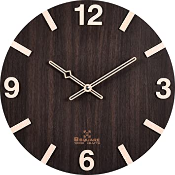 Buy B SQUARE Handcrafted Wooden Wall Clock Dark Brown, 12 Inches Online At  Low Prices In India   Amazon.in