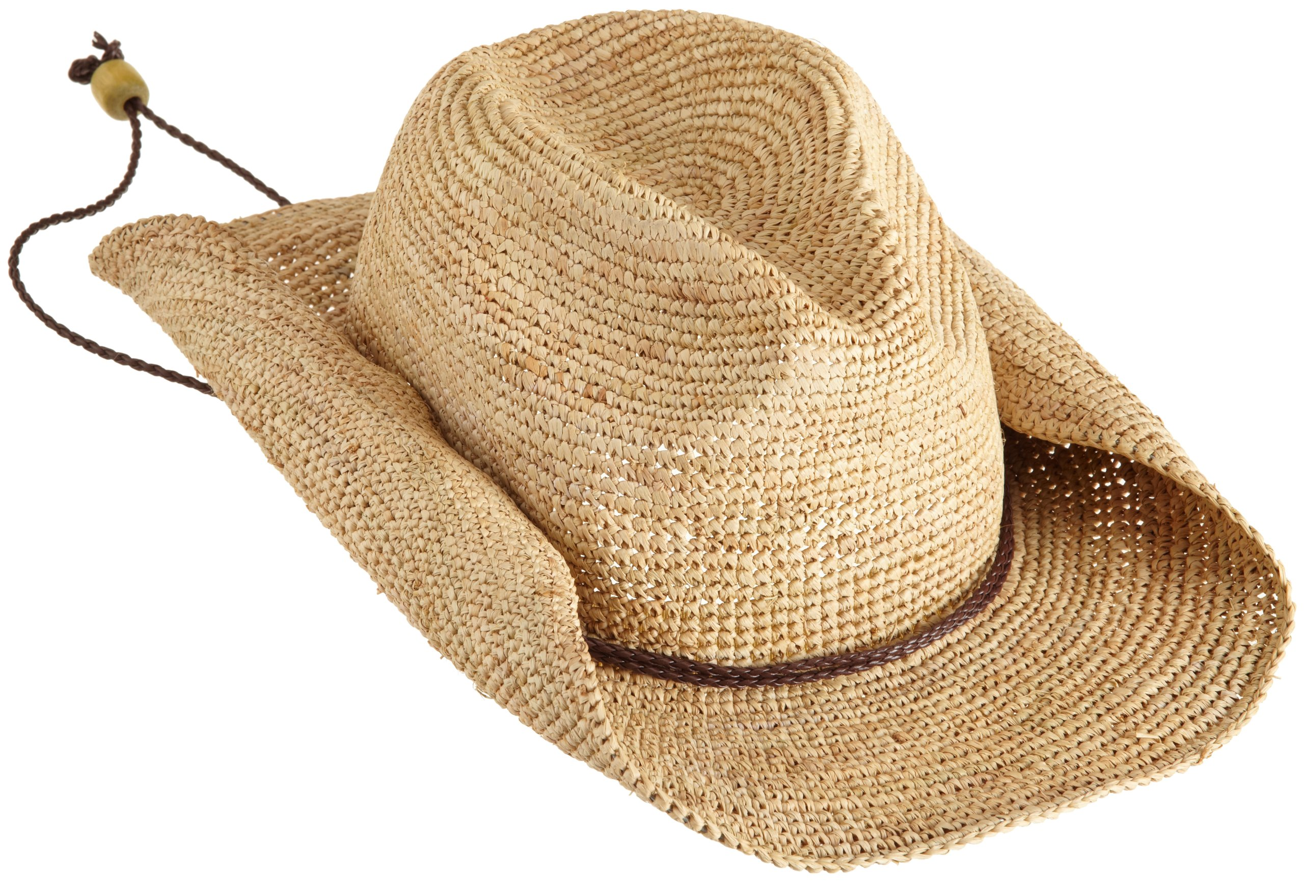 San Diego Hat Company Women's Crocheted Raffia Cowboy Hat,Natural,One Size