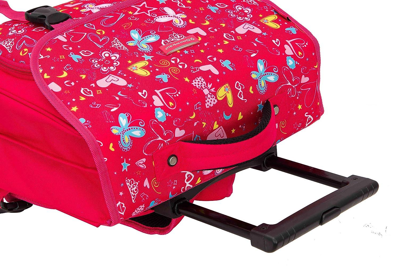 Cartable /à roulettes Rose pour Enfant CM1 CM2 Coll/ège 41 cm Snowball.