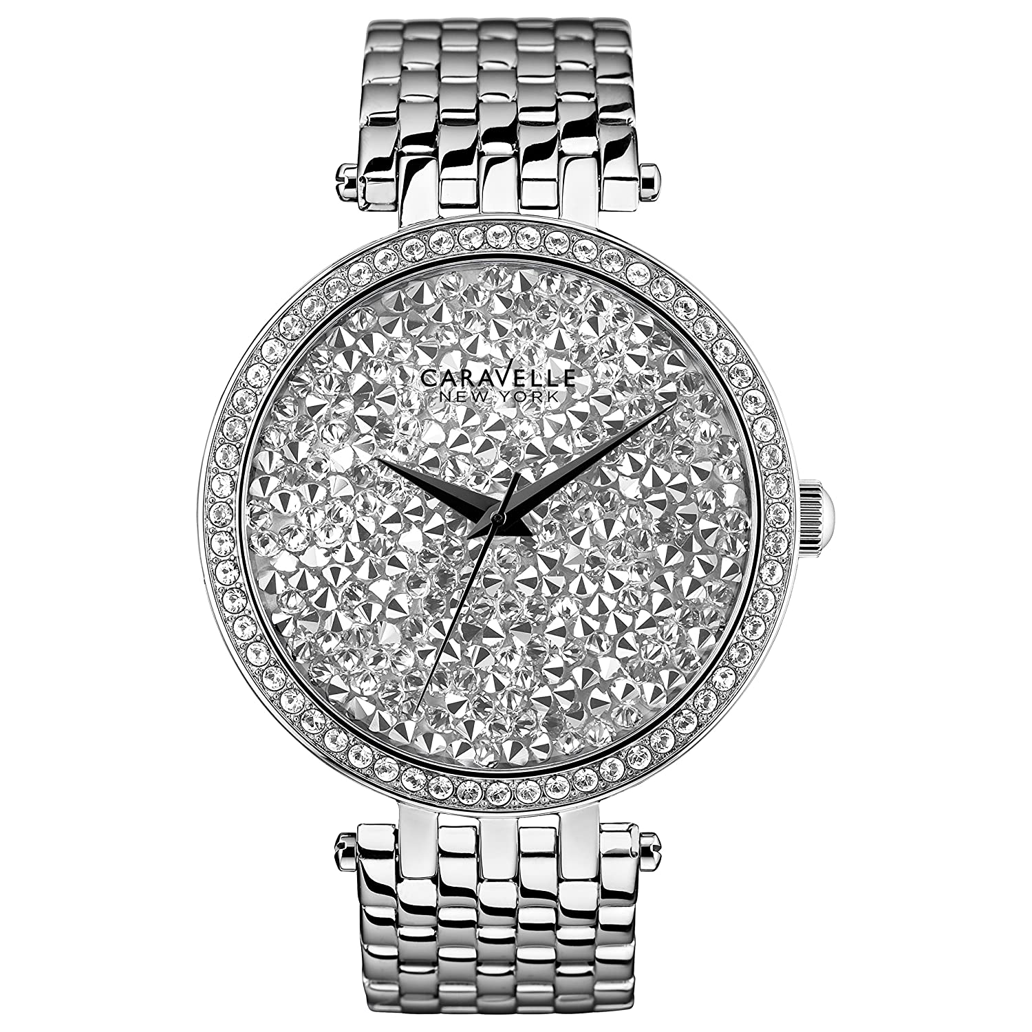 Caravelle New York Damen-Armbanduhr CRYSTAL Analog Quarz Edelstahl 43L160