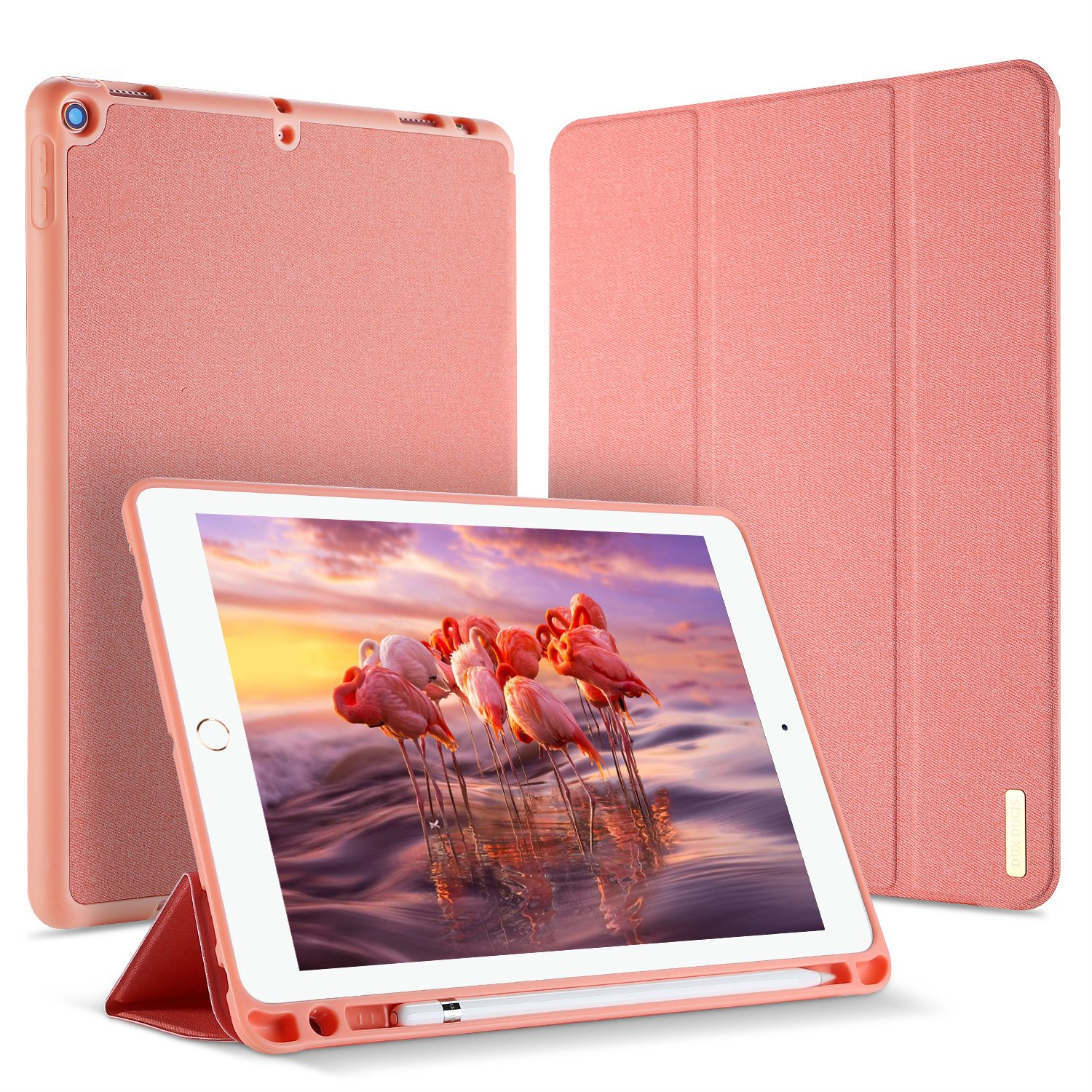 DUX DUCIS Funda iPad 9.7 2018 con Apple Pencil Holder,Flip Folio Cover Soporte Plegable Rosa Dorada Ultra-Delgado Protecci/ón De Completo Carcasa Case para Apple iPad 9.7 2018 Auto Sue/ño//Estela