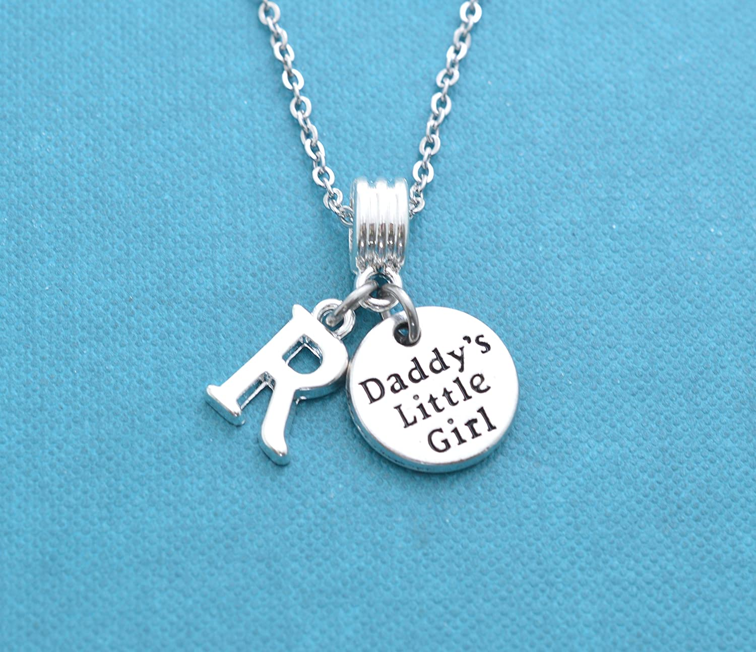 a1f014d2ee54d Little Girl's daddy's little girl necklace in silver personalized with  initial. Little girls jewelry. Little girl necklace. Daddy's girl