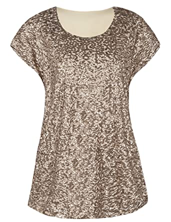 b262aafae19f3c kayamiya Women's Tunic Tops Sparkly Sequin Embellished Blouse Top Champagne  S/US6-8