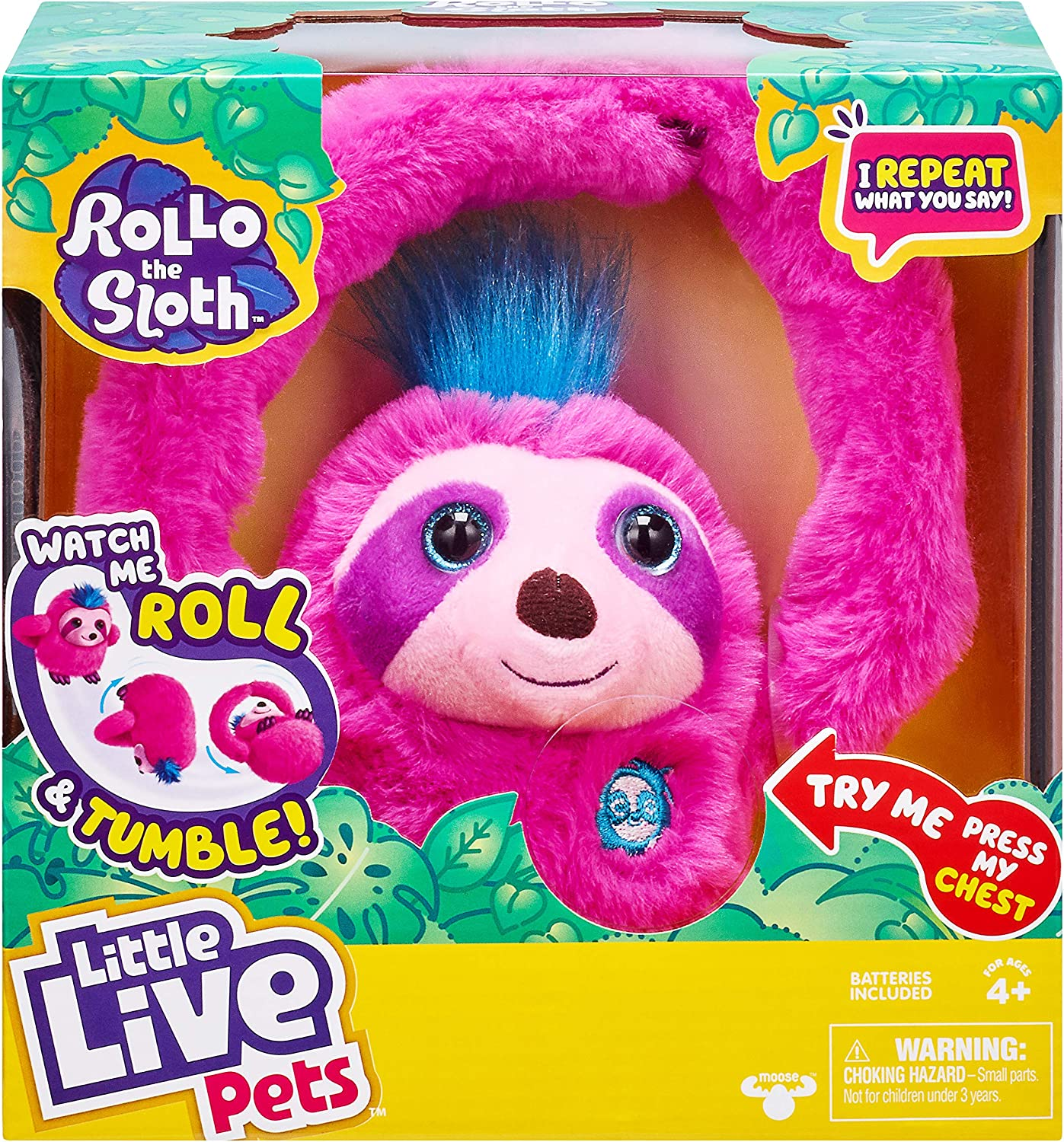 Little Live Pets Rollo The Sloth - Bendable Arms, Movement, Reacts to Sounds, and Repeats What You say. Funny Toy Gift., Multicolor