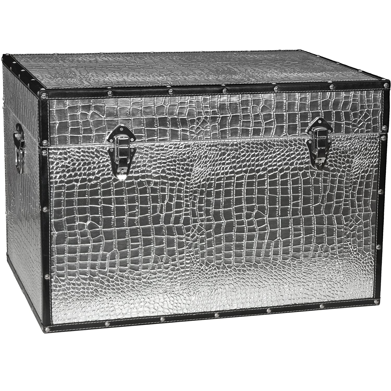 Amazon.com: Oriental Furniture Faux Leather Silver Crocodile Trunk: Kitchen  U0026 Dining