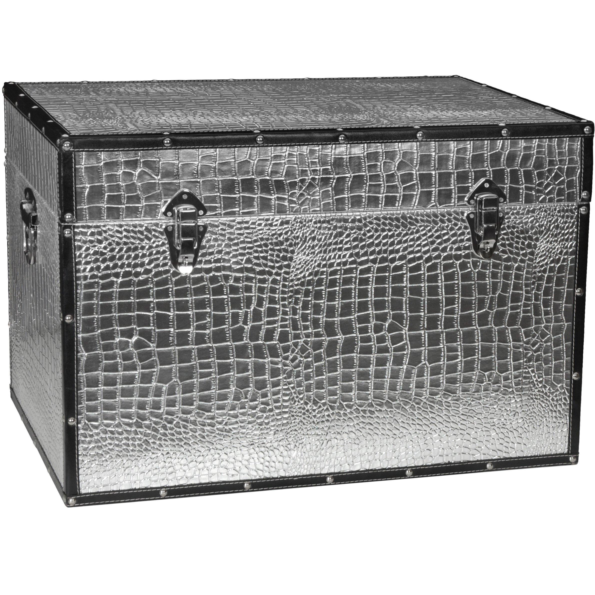 Oriental Furniture Faux Leather Silver Crocodile Trunk