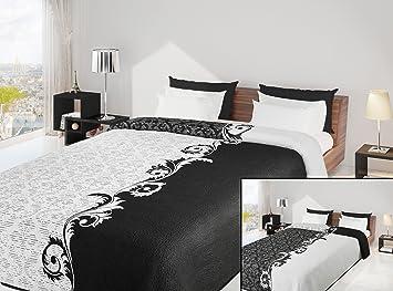 couvre lit blanc et noir 220x240 Couvre lit réversible Noir blanc floral AISHA: Amazon.fr  couvre lit blanc et noir
