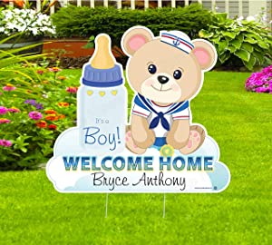 Cute News Welcome Home Baby Boy Teddy Bear Yard Sign, Custom Name Its a Boy Garden Decoration, Personalized Lawn Birth Announcement, Outdoor Newborn Arrival Stork Card, Gift