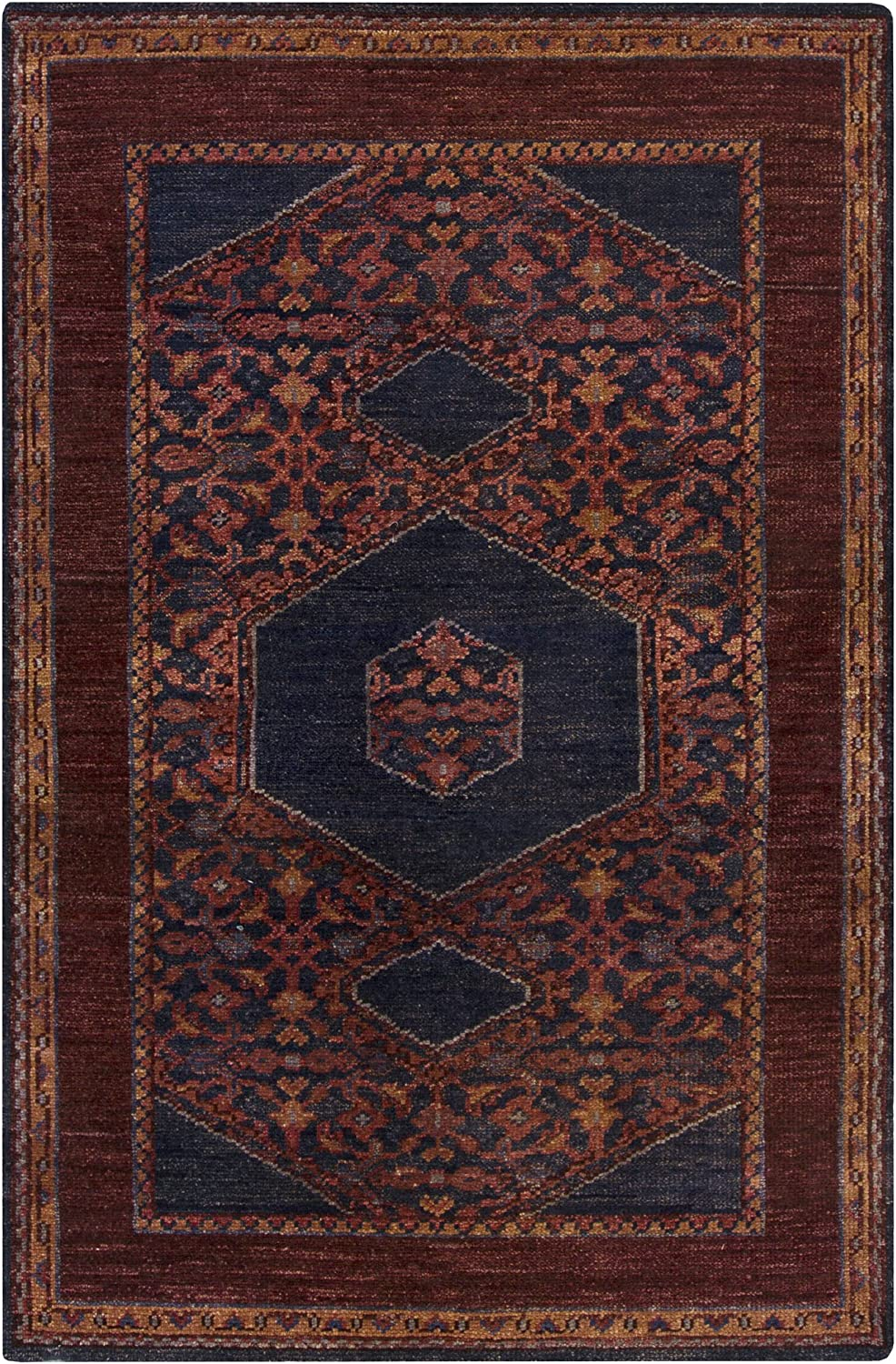 B00IRNHJ92 Surya Hand Knotted Casual Accent Rug, 3-Feet 6-Inch by 5-Feet 6-Inch, Eggplant/Burgundy/Navy/Cherry 91eKlm9boWL