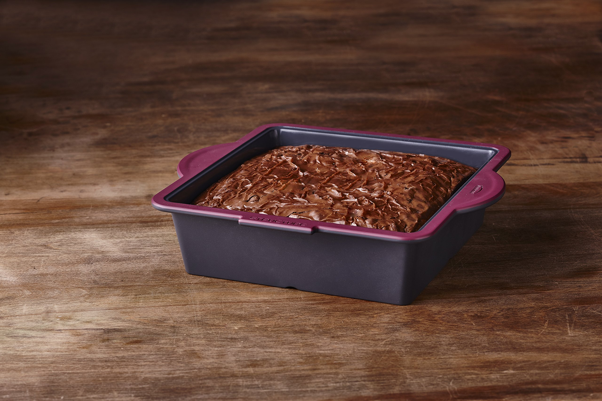Trudeau 09914012 Structure Square Novelty Cake Pans in Silicone, Grey/Pink by Trudeau (Image #2)