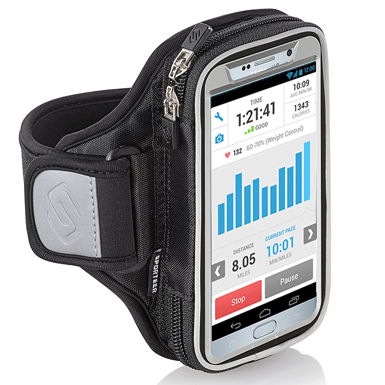 Sporteer Entropy E8 Running Armband - iPhone 11 Pro Max, Xs Max, iPhone 11, XR, 8 Plus, 7 Plus, Galaxy S10+, S10, Note 10, 9, 8, S9 Plus, S8 Plus, Pixel 3 XL, 2 XL, LG, Moto - FITS Cases (M/L)