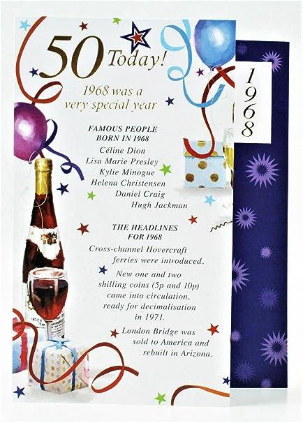 50 hoy 1967 año especial Born tarjeta de felicitación de ...