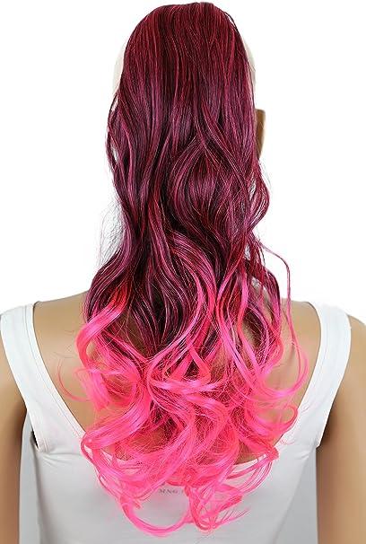 PRETTYSHOP Clip en las extensiones postizos ondulado de cabello pelo largo hechos de fibras sintéticas resistentes al calor negro rosa HCB3-1 # 1T8C