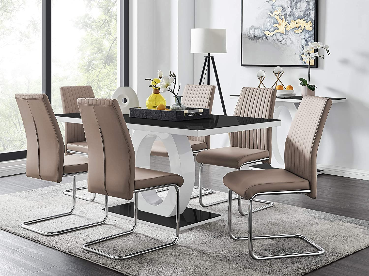 Furniturebox Uk Giovani Modern Black White High Gloss Glass Dining Table Set And 6 Modern Lorenzo Chairs Set Dining Table 6 Beige Cappuccino Grey Chairs Amazon Co Uk Kitchen Home