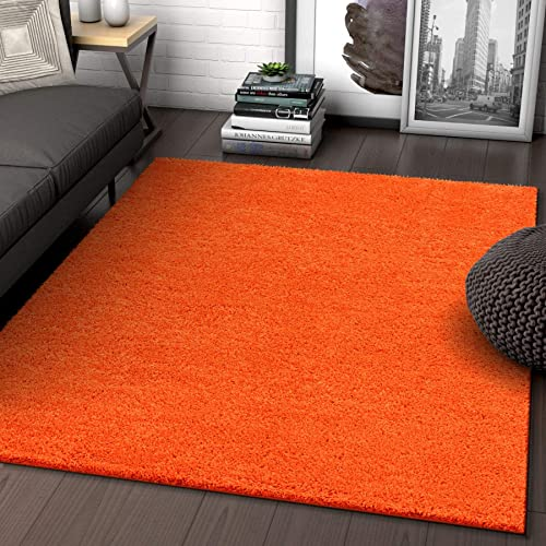 Solid Retro Modern Orange Shag 5×7 5 x 7 2 Area Rug Plain Plush Easy Care Thick Soft Plush Living Room Kids Bedroom