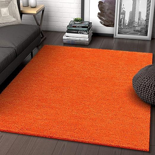 Amazon.com: Solid Retro Modern Orange Shag 5x7 ( 5' x 7'2'' ) Area