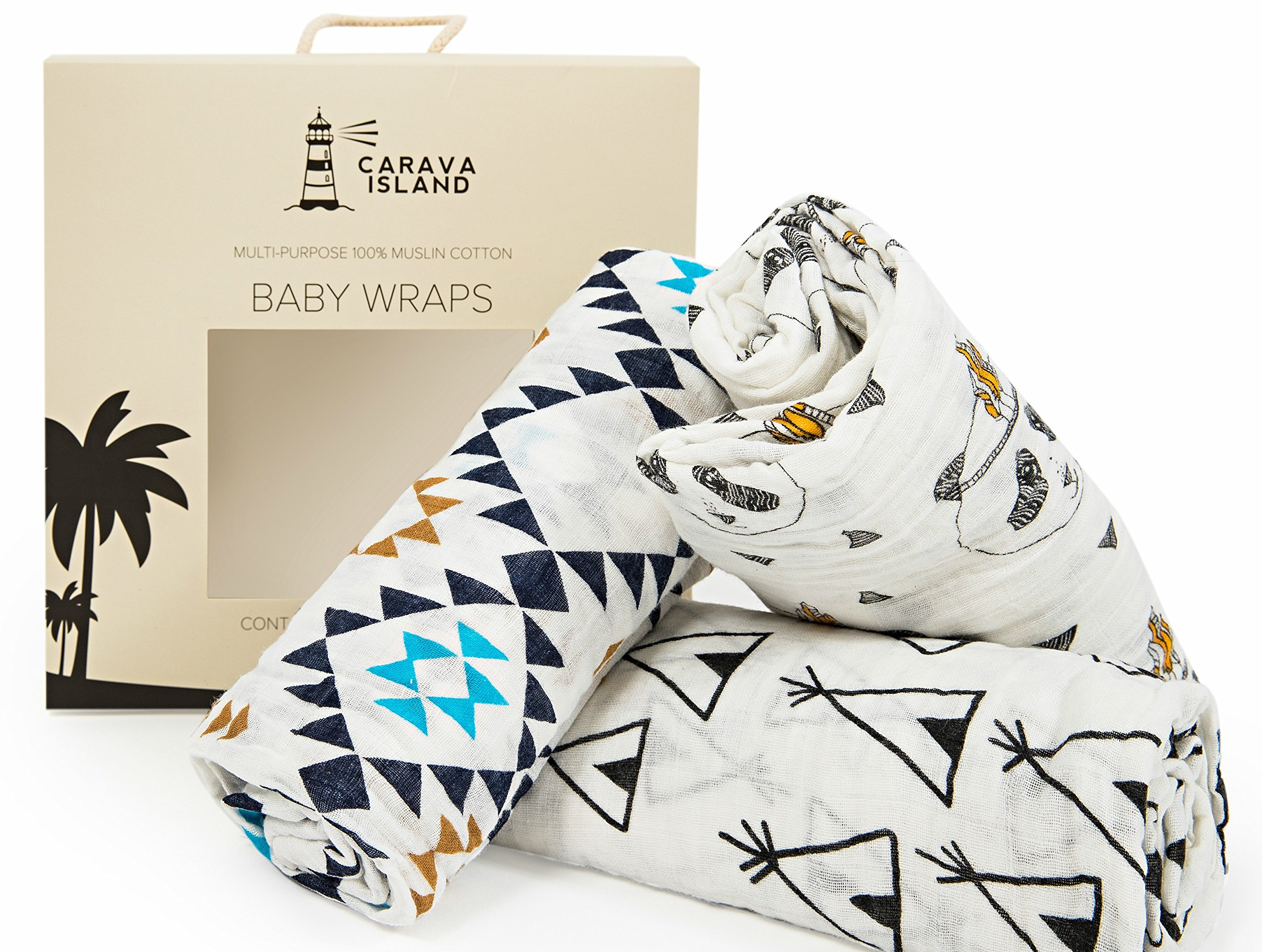 Premium Baby Swaddle Blankets By Carava Island | 100% Cotton Pre-Washed Muslin Receiving Blankets | Variety 3 Pack | Perfect Nursery Accessory And Baby Shower Gift