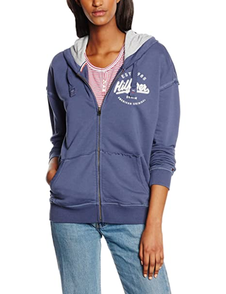 Tommy Jeans Thdw Zip HD Hknit L/S 18, Sudadera para Mujer, Azul