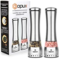 OPUX Electric Salt and Pepper Grinder Set | Battery Operated Pepper Mill with LED Light, Automatic Stainless Steel Salt Shaker, Adjustable Grind Coarseness | Curved Design