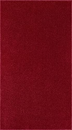 Ambiant Pet Friendly Solid Color Area Rug Burgundy