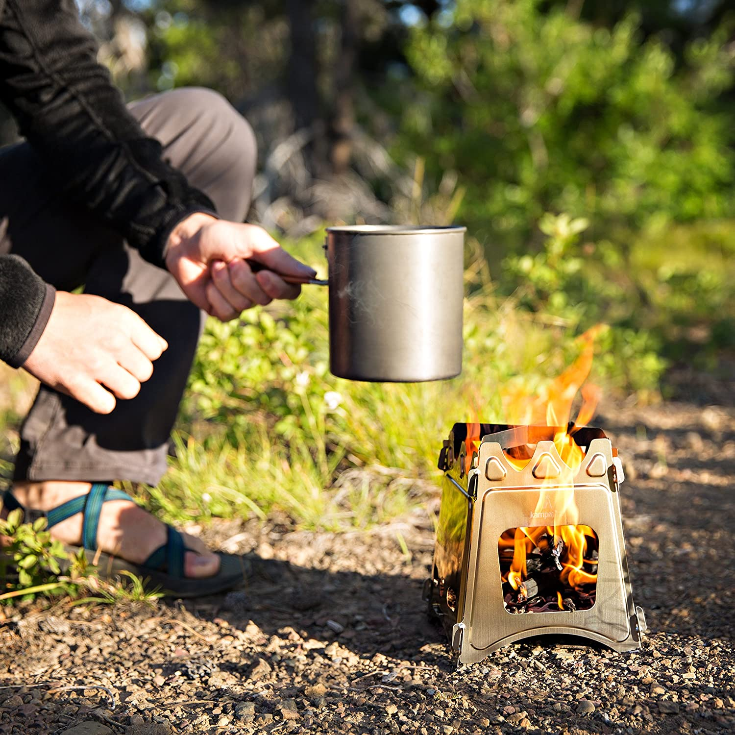 kampMATE WoodFlame Ultra Lightweight Portable Wood Burning Camping Stove Perfect for Survival Packs /& Emergency Preparedness Backpacking Stove Stainless Steel with Nylon Carry Case